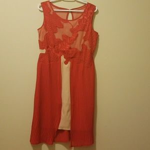 Reiss UK 12 US 8 Red Sheer Cocktail Dress NWOT